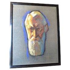 Portrait pastel painting, signed, Marcel Frère, 1927.