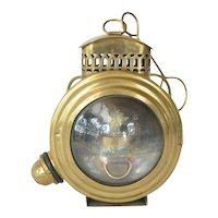 Small, rare,19th century, brass bulls-eye kerosene lamp.