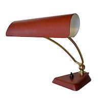 Vintage metal / brass desk lamp, Swiss, 1975c.