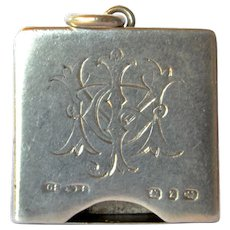 A Victorian sterling silver stamp holder, 1899.