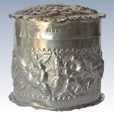 A Victorian silver round lidded trinket box, 1890.