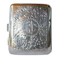 Sterling silver cigarette case, Birmingham, 1919.