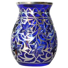 A silver overlay blue glass vase, 1890-1910.