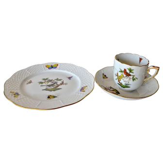 Vintage Herend, Rothschild bird design,  three piece coffee set.