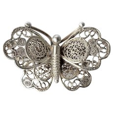 A vintage Alioto Adriana silver ( 800 ) butterfly pin brooch, 1960c.