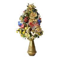 A Victorian coloured silk and dried flower arrangement, 1890c.
