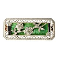 An 18ct. Yellow & White Gold Guilloché Enamel & Diamond Brooch, Art Deco Style,  1925c.