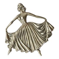 A sterling silver (925) dancing lady pin brooch, 1975c.