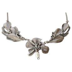 Art nouveau silver pendant necklace and chain.