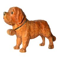 A Swiss wood carved St. Bernard dog , 1930-1940.
