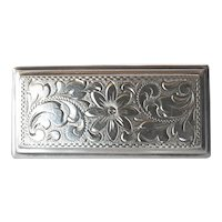 Silver (835) vintage rectangular brooch.