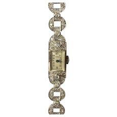 Lady's platinum/diamond set art deco bracelet watch,1930-1940.