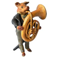 Austrian cold painted bronze pig musician, early 1900s.