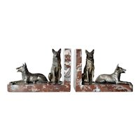 Art deco marble bookends with Alsatian dogs, 1940c.