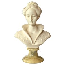 Vintage Italian bust on a marble base, 1965c.