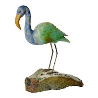 Flamingo figurine of semi precious stones,1950s.