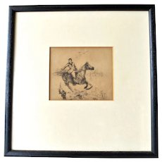 Huntsman and hound, etching,  late 19th early 20th century.