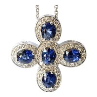 Sapphire and diamond set  pendant by Zoccai, 2nd half 20th century.