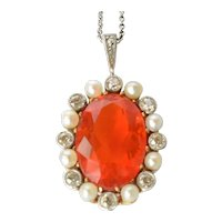 Platinum /18ct. Gold Fire Opal Natural Pearl & Diamond Pendant, circa 1920.