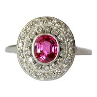 Platinum Pink Sapphire & Diamond Cluster Ring, circa 1935.