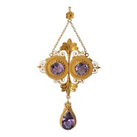 A beautiful vintage gold ( 18 ct. )necklace set with cut amethysts, 1890 -1900.