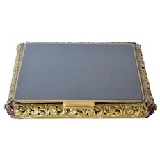 French Gilt Metal/Bronze  & Lacquer Compact,