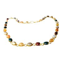 Vintage gilt metal/semi precious stone necklace.