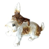 Porcelain German seated terrier dog,  early 1900s.