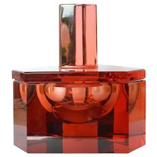 Moser, art deco, glass lidded jar, Karlovy Vary.