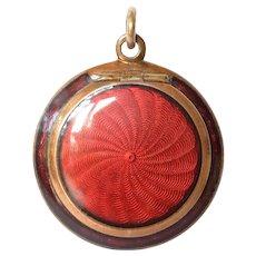 Compact pendant, guilloché/enamel,gilt, art nouveau, 1910c.
