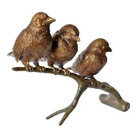 Bronze birds (3) perched on a branch, early vintage Asian.