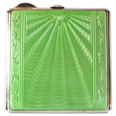 Compact, 1941, sterling silver, green guilloché/enamel.
