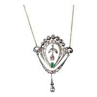 A Silver & Gold / Emerald & Diamond , Pendant, circa 1910,