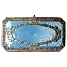 French Guilloché blue enamel case, 19th century.