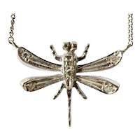 C. BUCHERER - A Vintage  18ct White Gold & Diamond Dragonfly Pendant, Swiss.