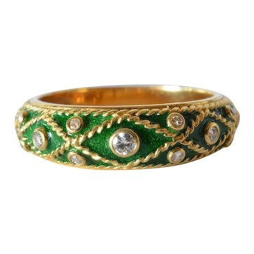 J. Yanes - An 18k Gold Enamel & Diamond Ring, Vintage, Spanish