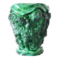 Schlevogt,Curt large green glass vase, Bohemia, early vintage.