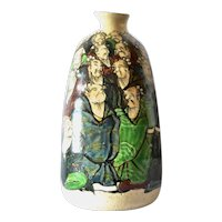 A Japanese polychrome decorated bottle vase, Showa period.