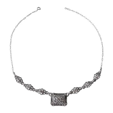 Necklace, sterling silver/marcasite, 1930s