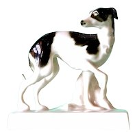 A Dresden, Richard Klemm, Porcelain Model of a Dog (Whippet) ,late 19th century.