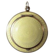 Compact pendant, silver (800),guilloché/enamel,gilt, art nouveau, 1910c.