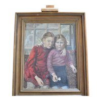 "Portrait of two young girls ( "" Schwestern "" ), Oil on canvas,  European, 1948."