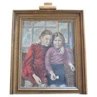 """Portrait of two young girls ( """" Schwestern """" ), Oil on canvas,  European, 1948."""