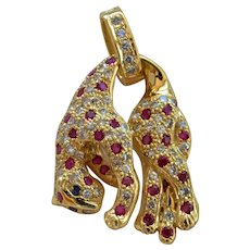 A vintage 18k gold & Gem-set Panther Pendant