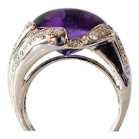 A vintage  18k White Gold Amethyst & Diamond Ring.
