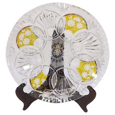 Czech Bohemian Amber Flash Cut Glass Bowl