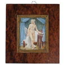 19C. French Miniature Painting of a Female Nude