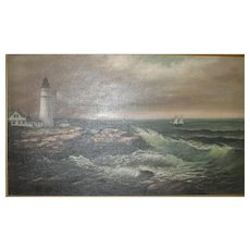 19th C. O/C Painting of a Lighthouse