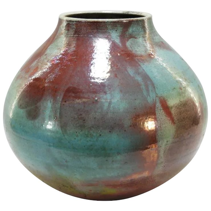 Mark Hines 12 Tall Contemporary Raku Art Pottery Vase Vanbibber