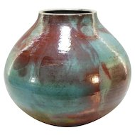 "Mark Hines 12"" tall Contemporary Raku Art Pottery Vase"